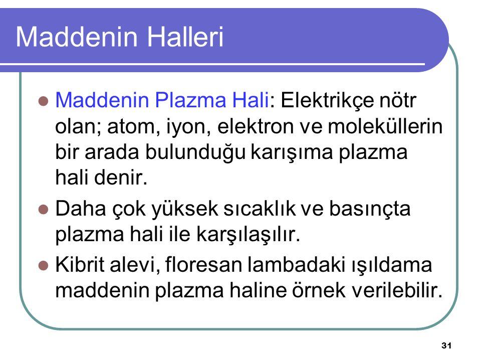 Maddenin Halleri Maddenin Plazma Hali: Elektrikçe nötr olan; atom, iyon, elektron ve moleküllerin bir arada bulunduğu karışıma plazma hali denir.