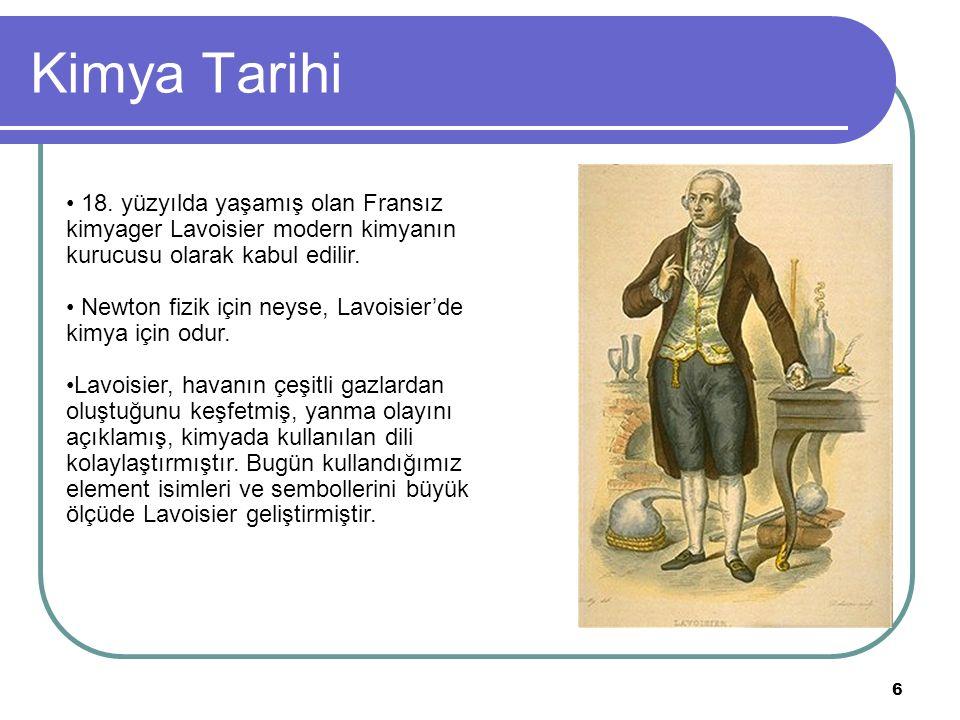 Kimya Tarihi 18. yüzyılda yaşamış olan Fransız kimyager Lavoisier modern kimyanın kurucusu olarak kabul edilir.