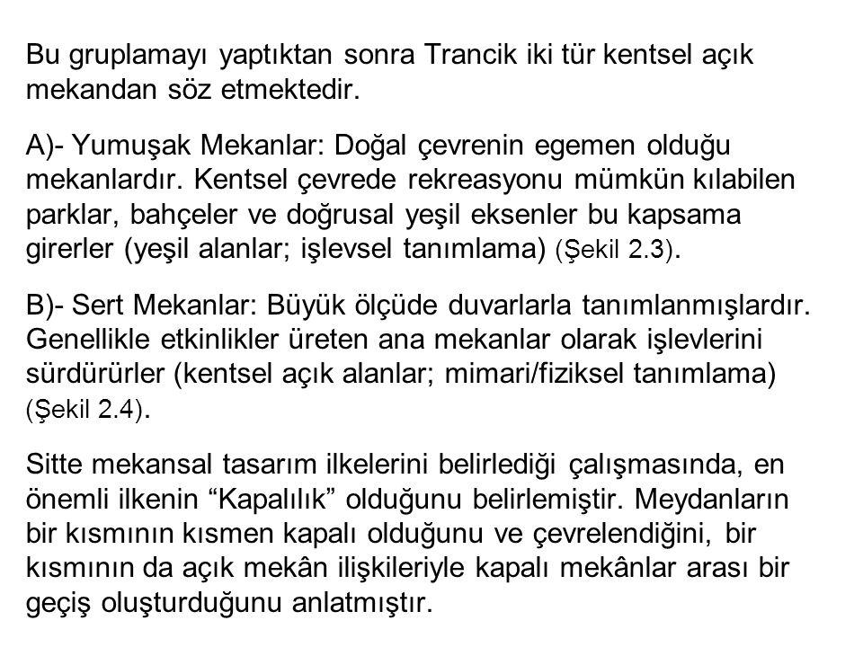 Bu gruplamayı yaptıktan sonra Trancik iki tür kentsel açık mekandan söz etmektedir.