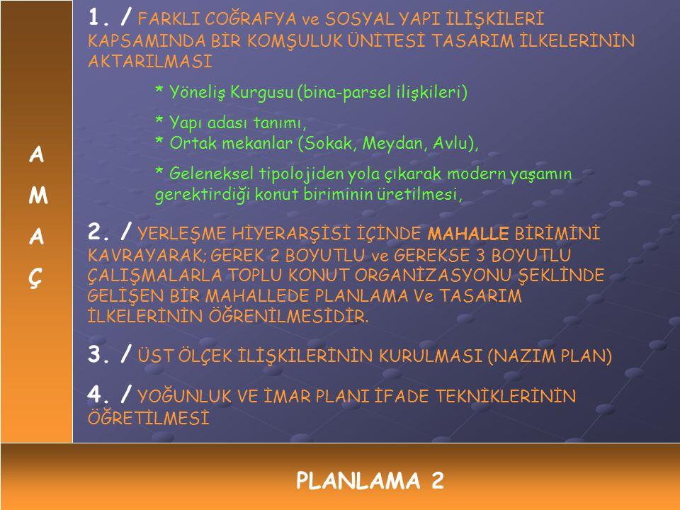 3. / ÜST ÖLÇEK İLİŞKİLERİNİN KURULMASI (NAZIM PLAN)