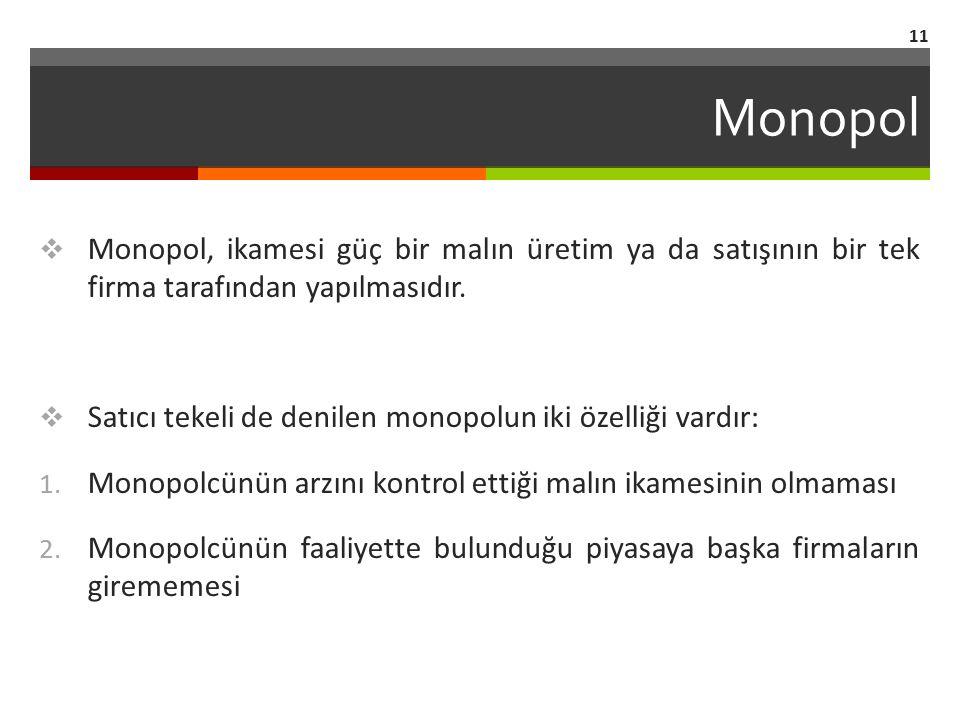 Monopol Monopol, ikamesi güç bir malın üretim ya da satışının bir tek firma tarafından yapılmasıdır.