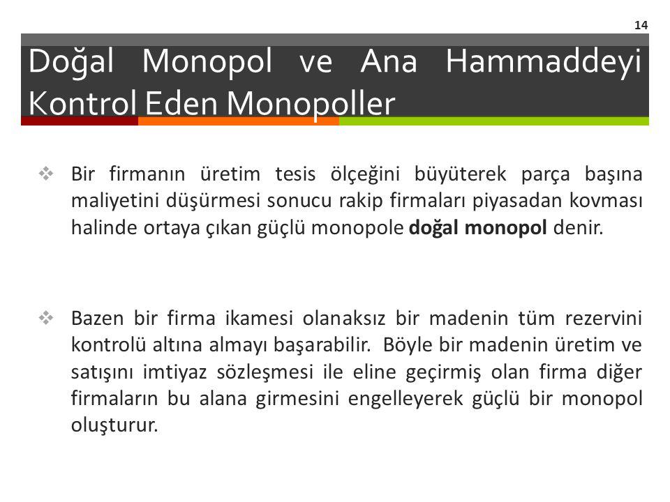 Doğal Monopol ve Ana Hammaddeyi Kontrol Eden Monopoller