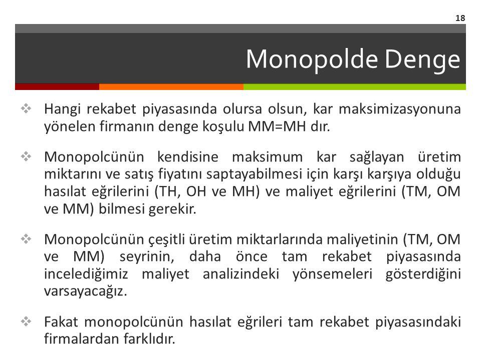 Monopolde Denge Hangi rekabet piyasasında olursa olsun, kar maksimizasyonuna yönelen firmanın denge koşulu MM=MH dır.
