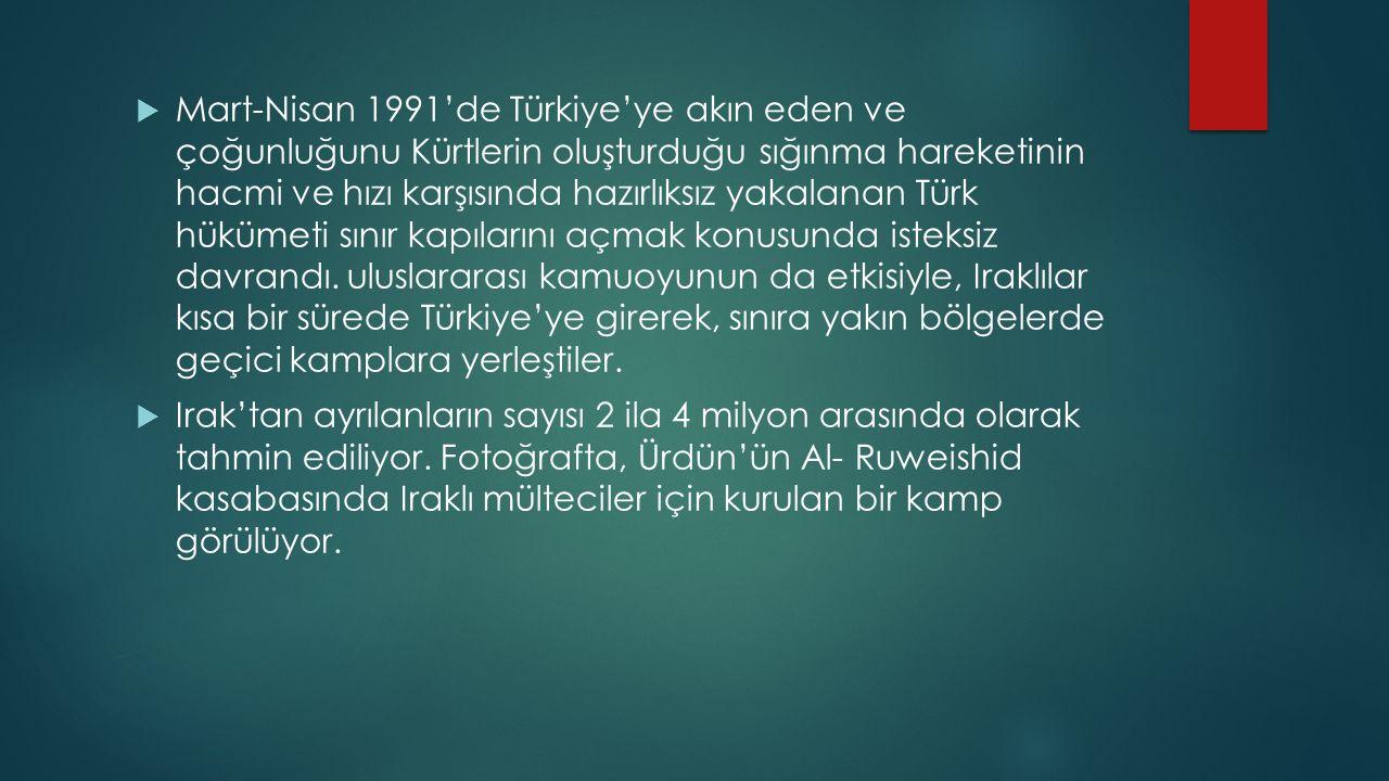 Mart-Nisan 1991'de Türkiye'ye akın eden ve çoğunluğunu Kürtlerin oluşturduğu sığınma hareketinin hacmi ve hızı karşısında hazırlıksız yakalanan Türk hükümeti sınır kapılarını açmak konusunda isteksiz davrandı. uluslararası kamuoyunun da etkisiyle, Iraklılar kısa bir sürede Türkiye'ye girerek, sınıra yakın bölgelerde geçici kamplara yerleştiler.