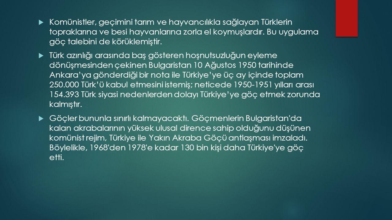 Komünistler, geçimini tarım ve hayvancılıkla sağlayan Türklerin topraklarına ve besi hayvanlarına zorla el koymuşlardır. Bu uygulama göç talebini de körüklemiştir.