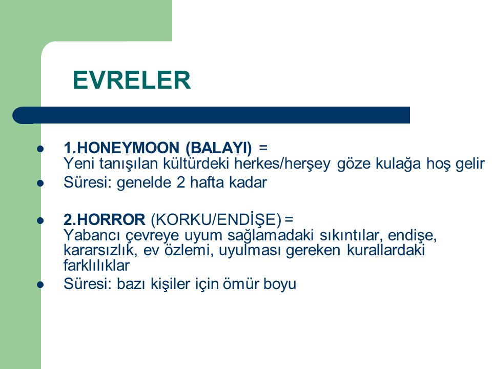 EVRELER 1.HONEYMOON (BALAYI) = Yeni tanışılan kültürdeki herkes/herşey göze kulağa hoş gelir. Süresi: genelde 2 hafta kadar.