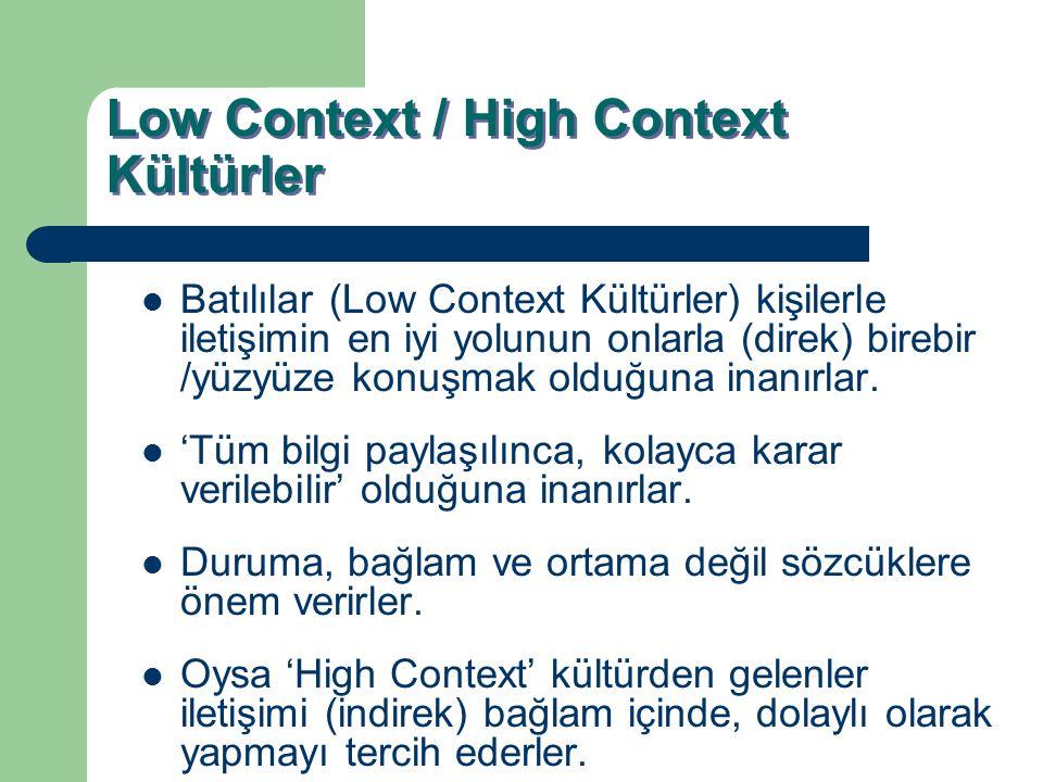 Low Context / High Context Kültürler