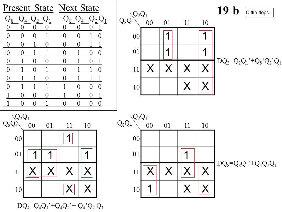 19 b 1 X 1 1 X X 1 Present State Next State Q8 Q4 Q2 Q1 Q8 Q4 Q2 Q1