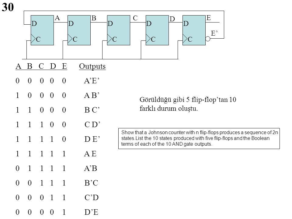 30 A B C D E Outputs 0 0 0 0 0 A'E' 1 0 0 0 0 A B' 1 1 0 0 0 B C'