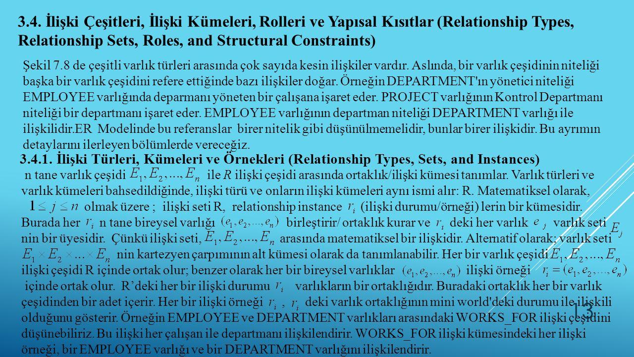 3.4. İlişki Çeşitleri, İlişki Kümeleri, Rolleri ve Yapısal Kısıtlar (Relationship Types, Relationship Sets, Roles, and Structural Constraints)