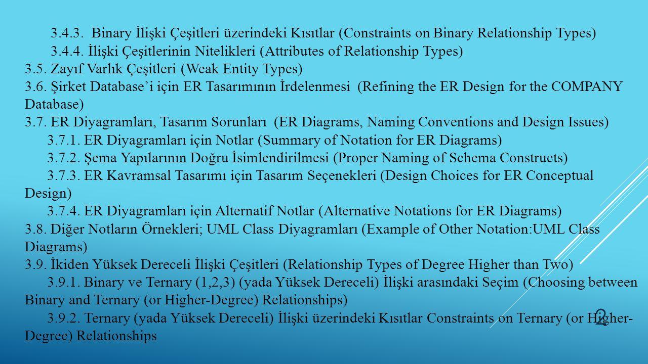 3.4.3. Binary İlişki Çeşitleri üzerindeki Kısıtlar (Constraints on Binary Relationship Types)