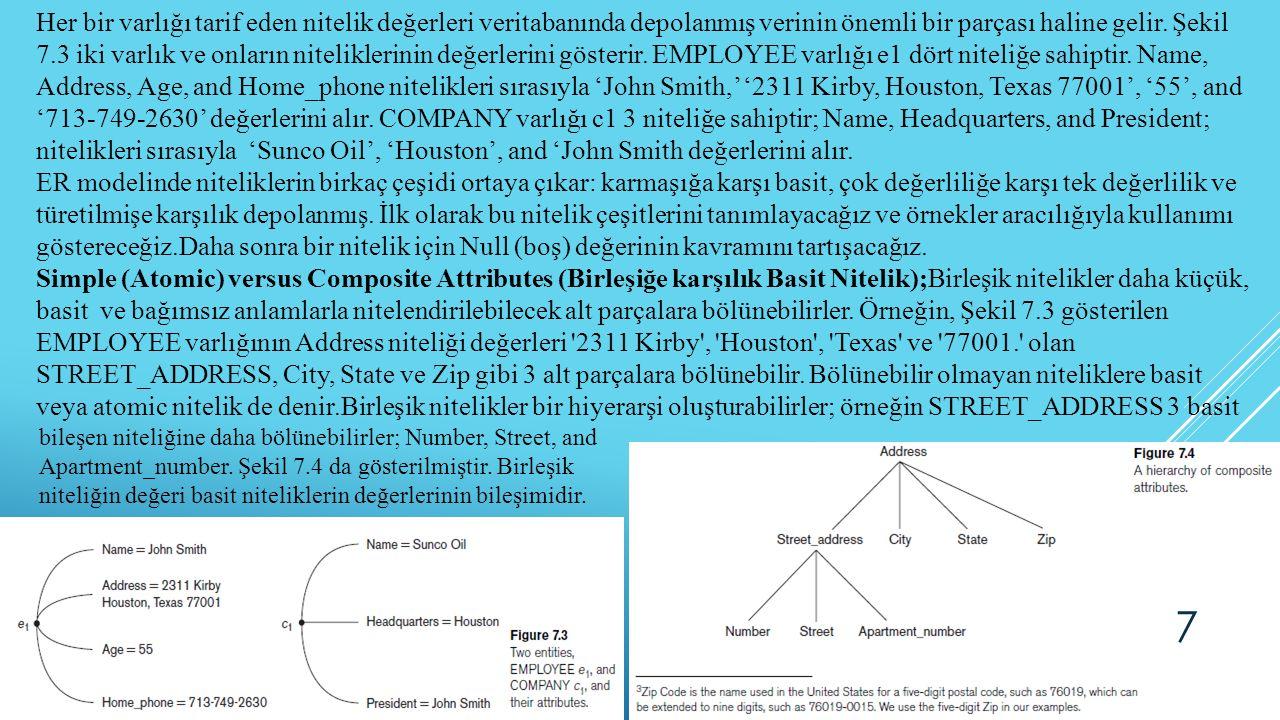 Her bir varlığı tarif eden nitelik değerleri veritabanında depolanmış verinin önemli bir parçası haline gelir. Şekil 7.3 iki varlık ve onların niteliklerinin değerlerini gösterir. EMPLOYEE varlığı e1 dört niteliğe sahiptir. Name, Address, Age, and Home_phone nitelikleri sırasıyla 'John Smith,' '2311 Kirby, Houston, Texas 77001', '55', and '713-749-2630' değerlerini alır. COMPANY varlığı c1 3 niteliğe sahiptir; Name, Headquarters, and President; nitelikleri sırasıyla 'Sunco Oil', 'Houston', and 'John Smith değerlerini alır.