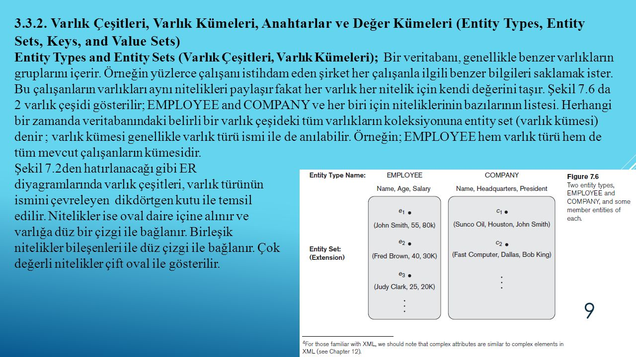 3.3.2. Varlık Çeşitleri, Varlık Kümeleri, Anahtarlar ve Değer Kümeleri (Entity Types, Entity Sets, Keys, and Value Sets)