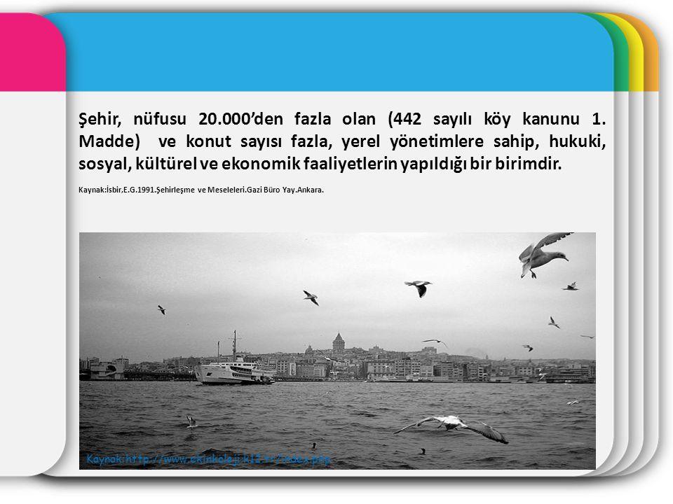 Şehir, nüfusu 20. 000'den fazla olan (442 sayılı köy kanunu 1