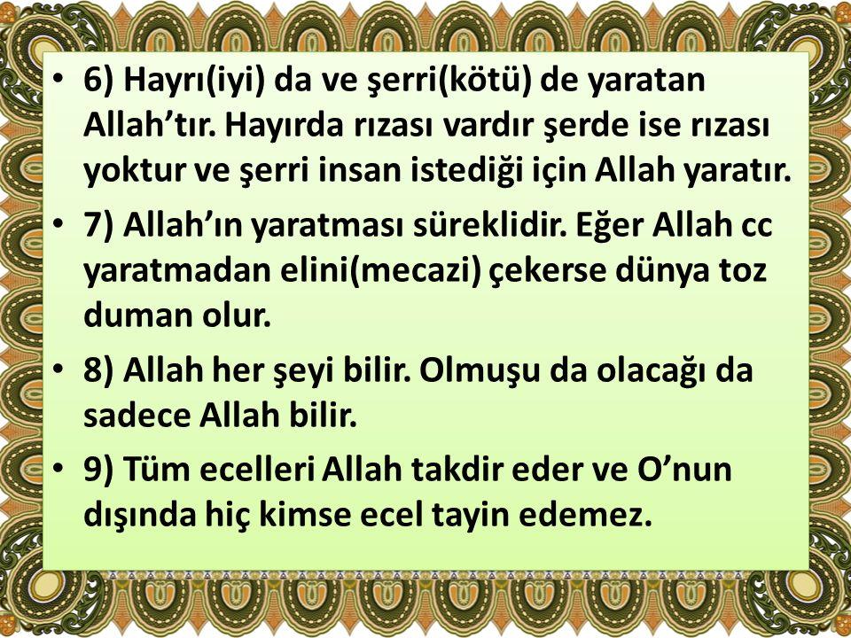 6) Hayrı(iyi) da ve şerri(kötü) de yaratan Allah'tır
