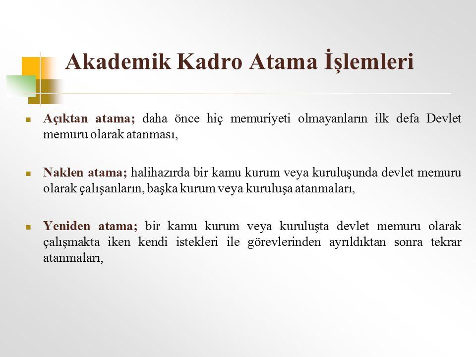 Akademik Kadro Atama İşlemleri