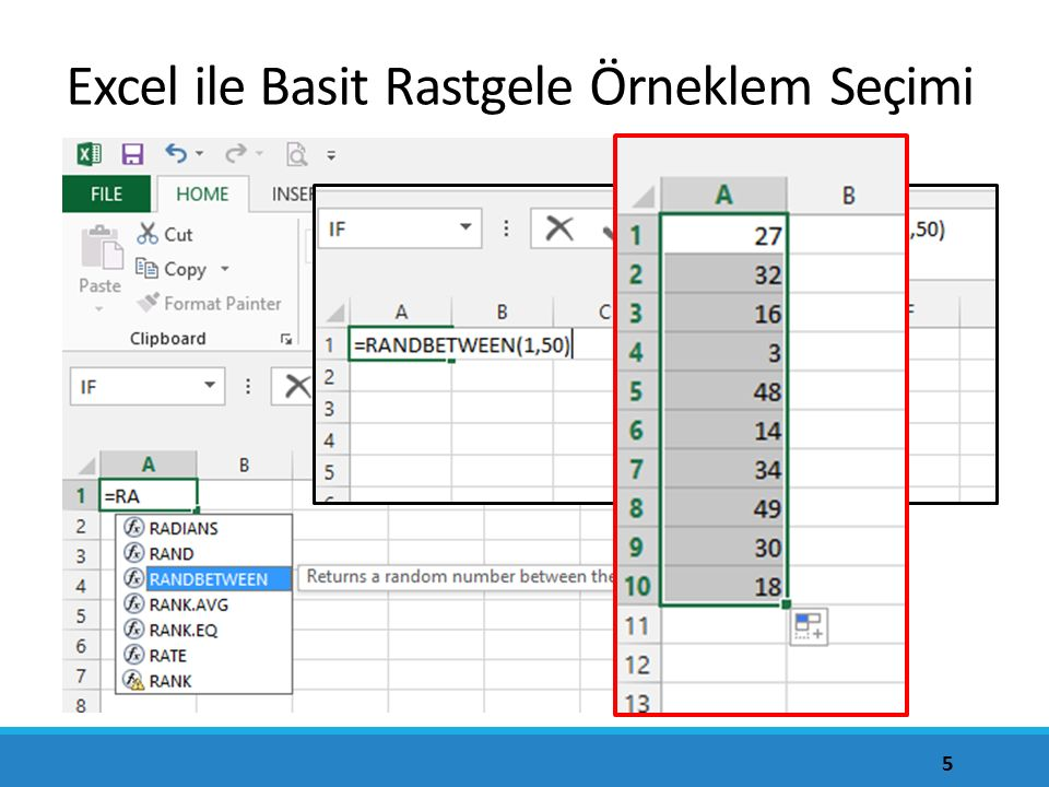 Excel ile Basit Rastgele Örneklem Seçimi
