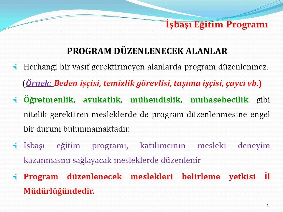 İşbaşı Eğitim Programı PROGRAM DÜZENLENECEK ALANLAR