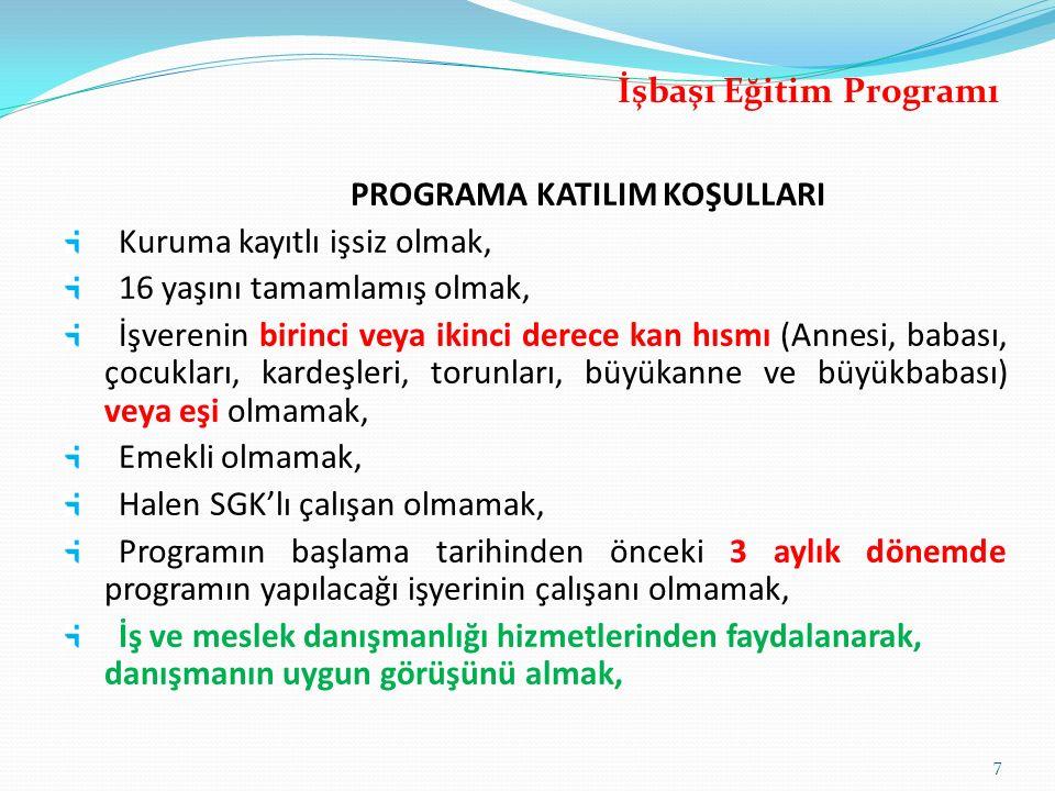 İşbaşı Eğitim Programı PROGRAMA KATILIM KOŞULLARI
