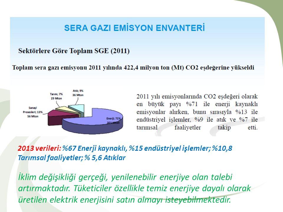 2013 verileri: %67 Enerji kaynaklı, %15 endüstriyel işlemler; %10,8 Tarımsal faaliyetler; % 5,6 Atıklar