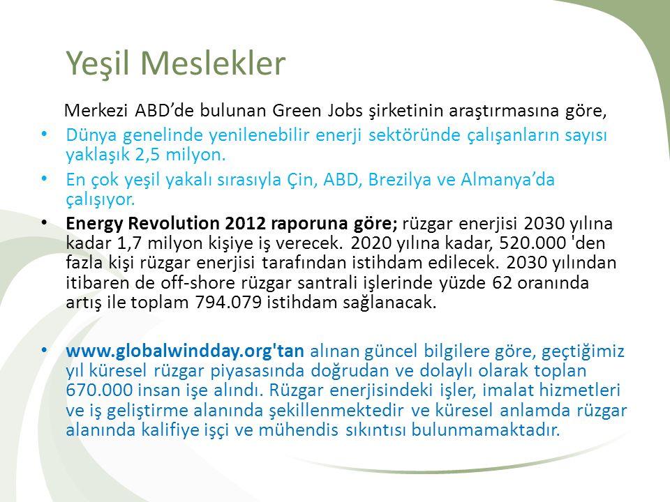 Yeşil Meslekler Merkezi ABD'de bulunan Green Jobs şirketinin araştırmasına göre,