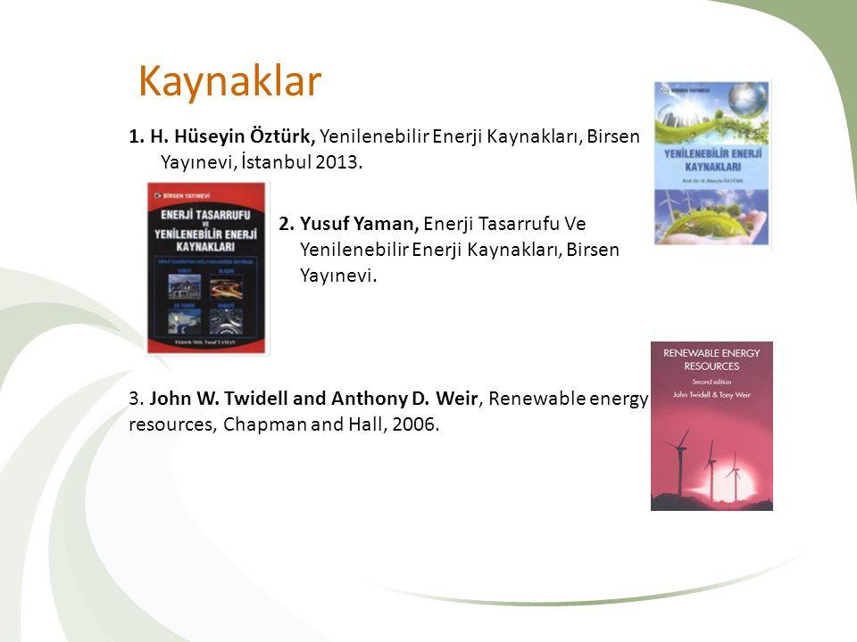 Kaynaklar 1. H. Hüseyin Öztürk, Yenilenebilir Enerji Kaynakları, Birsen Yayınevi, İstanbul 2013.