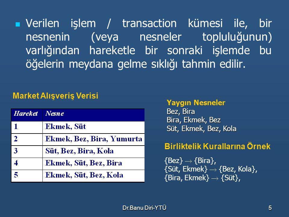 Verilen işlem / transaction kümesi ile, bir nesnenin (veya nesneler topluluğunun) varlığından hareketle bir sonraki işlemde bu öğelerin meydana gelme sıklığı tahmin edilir.