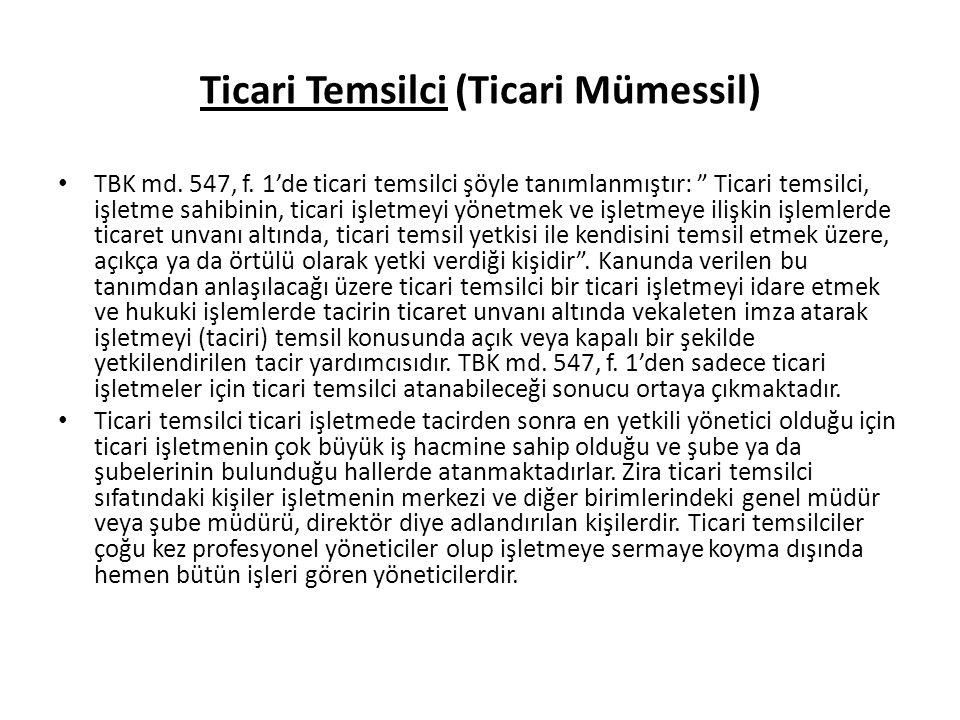 Ticari Temsilci (Ticari Mümessil)
