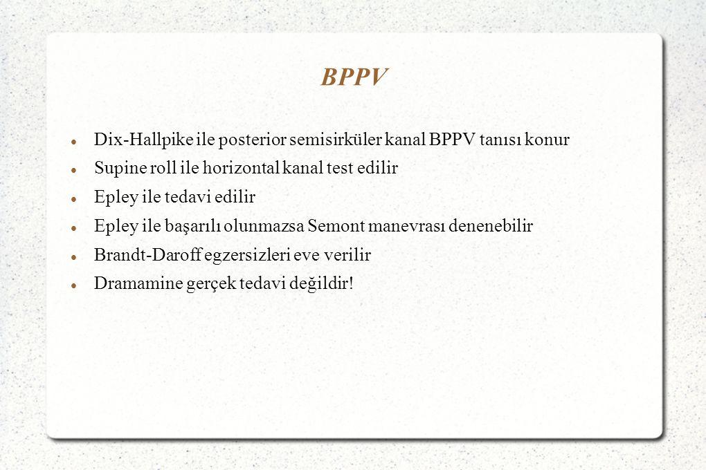 BPPV Dix-Hallpike ile posterior semisirküler kanal BPPV tanısı konur