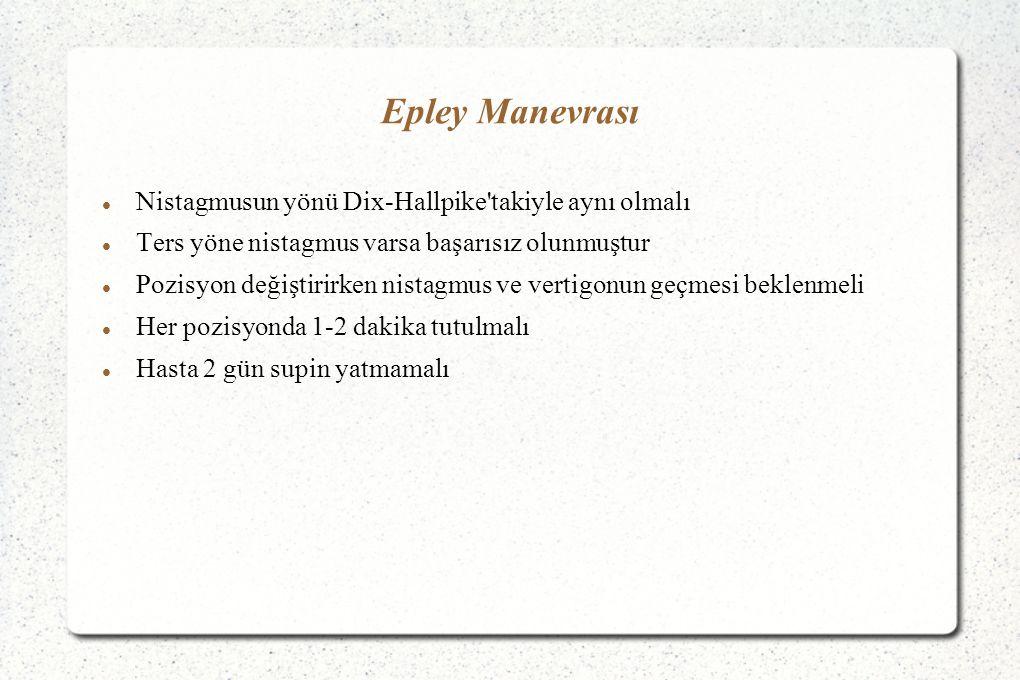 Epley Manevrası Nistagmusun yönü Dix-Hallpike takiyle aynı olmalı