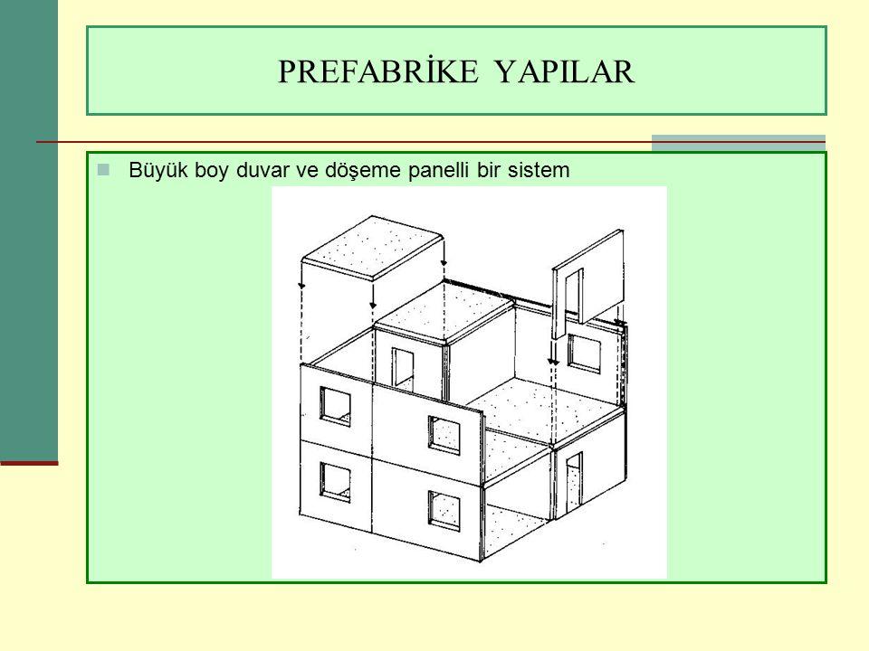 PREFABRİKE YAPILAR Büyük boy duvar ve döşeme panelli bir sistem