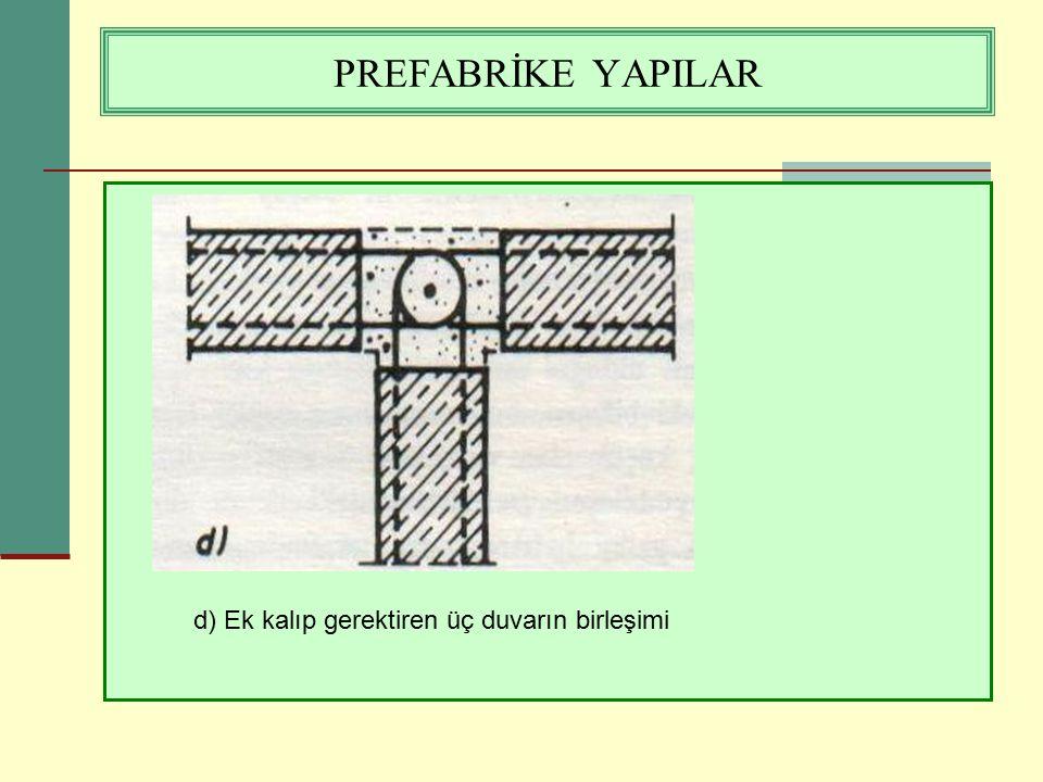 PREFABRİKE YAPILAR d) Ek kalıp gerektiren üç duvarın birleşimi