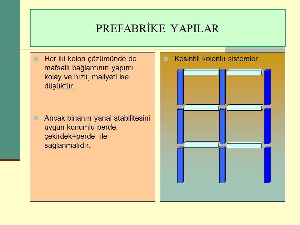 PREFABRİKE YAPILAR Her iki kolon çözümünde de mafsallı bağlantının yapımı kolay ve hızlı, maliyeti ise düşüktür.