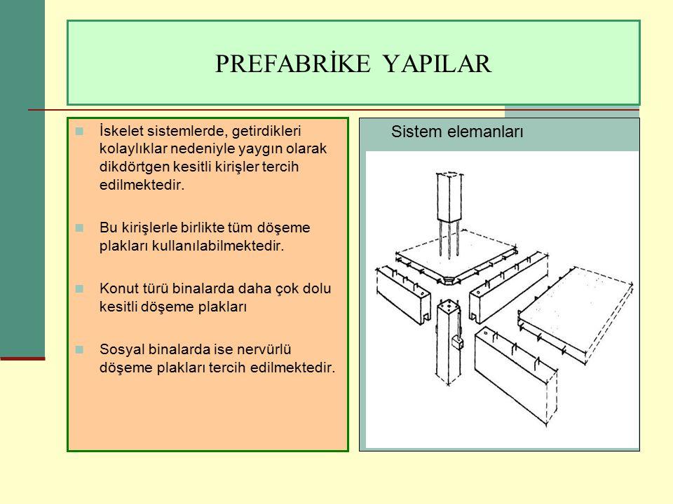PREFABRİKE YAPILAR Sistem elemanları