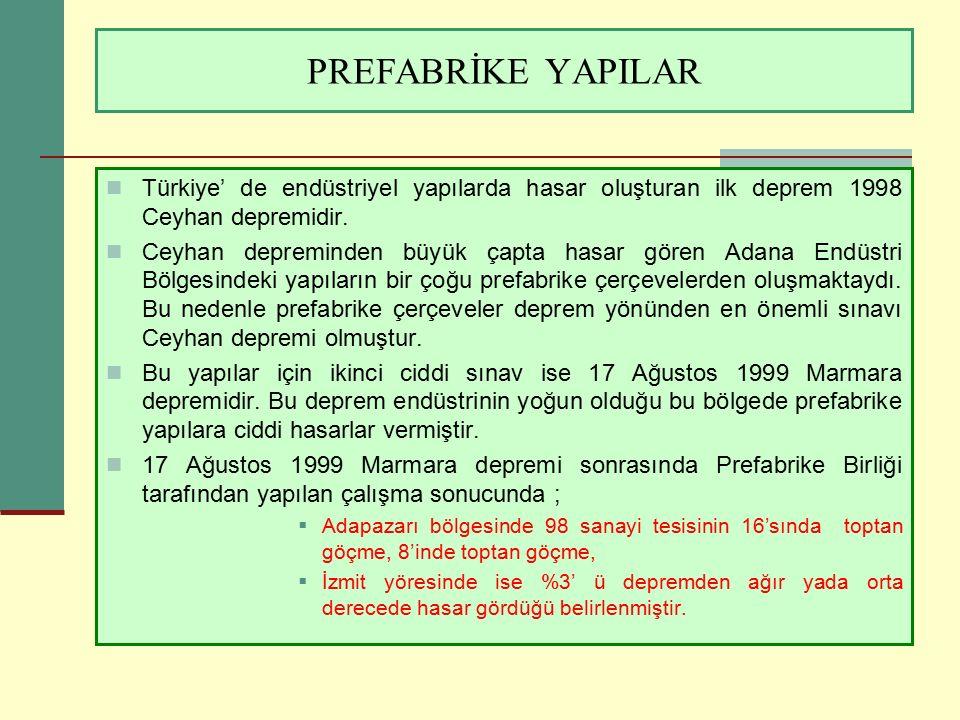 PREFABRİKE YAPILAR Türkiye' de endüstriyel yapılarda hasar oluşturan ilk deprem 1998 Ceyhan depremidir.