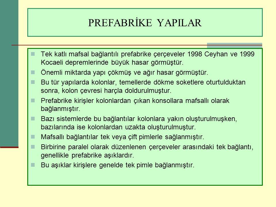 PREFABRİKE YAPILAR Tek katlı mafsal bağlantılı prefabrike çerçeveler 1998 Ceyhan ve 1999 Kocaeli depremlerinde büyük hasar görmüştür.