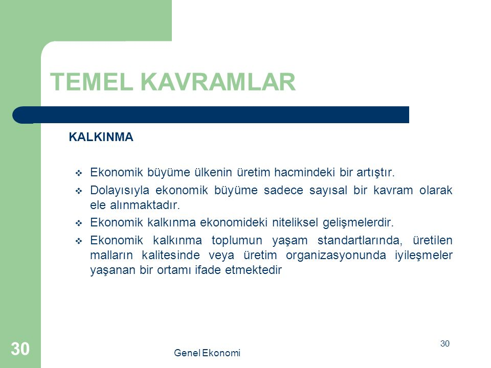 TEMEL KAVRAMLAR KALKINMA