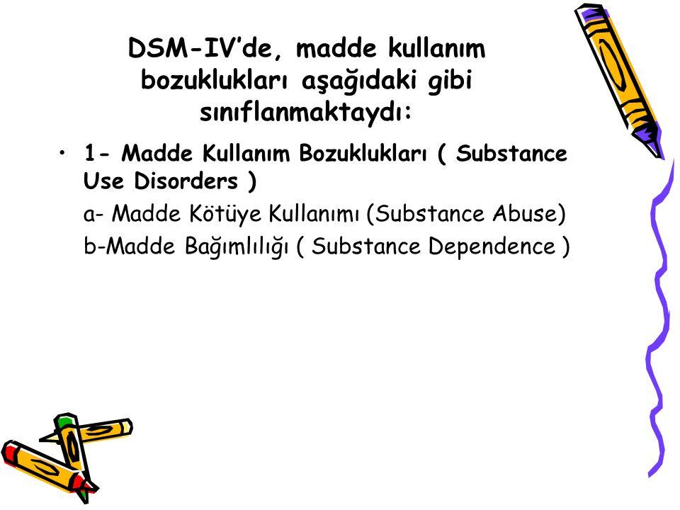 DSM-IV'de, madde kullanım bozuklukları aşağıdaki gibi sınıflanmaktaydı: