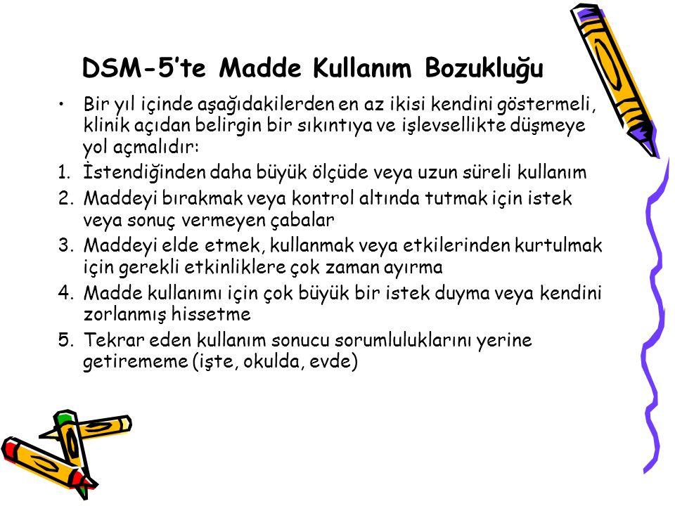 DSM-5'te Madde Kullanım Bozukluğu