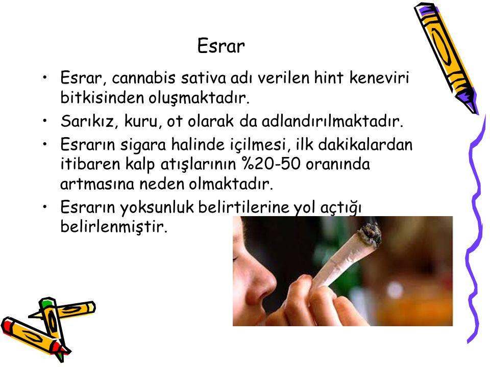 Esrar Esrar, cannabis sativa adı verilen hint keneviri bitkisinden oluşmaktadır. Sarıkız, kuru, ot olarak da adlandırılmaktadır.