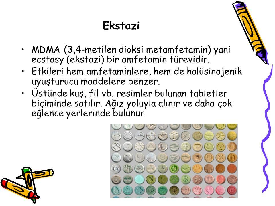 Ekstazi MDMA (3,4-metilen dioksi metamfetamin) yani ecstasy (ekstazi) bir amfetamin türevidir.