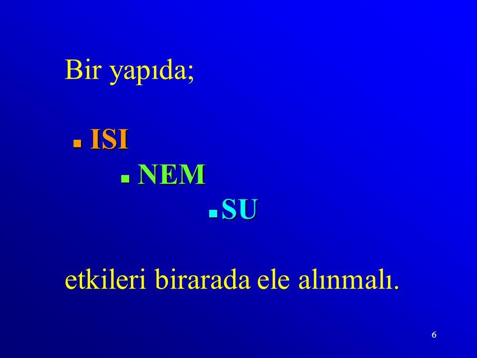 Bir yapıda;  ISI  NEM  SU etkileri birarada ele alınmalı.