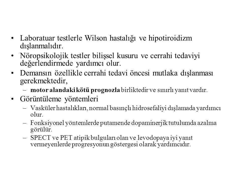 Laboratuar testlerle Wilson hastalığı ve hipotiroidizm dışlanmalıdır.