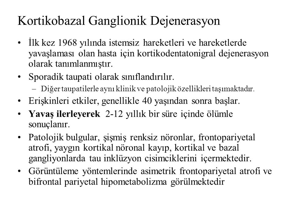 Kortikobazal Ganglionik Dejenerasyon
