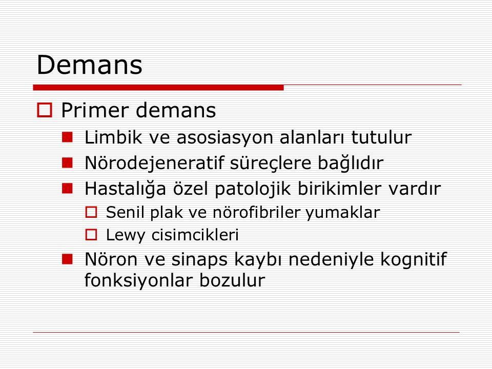 Demans Primer demans Limbik ve asosiasyon alanları tutulur
