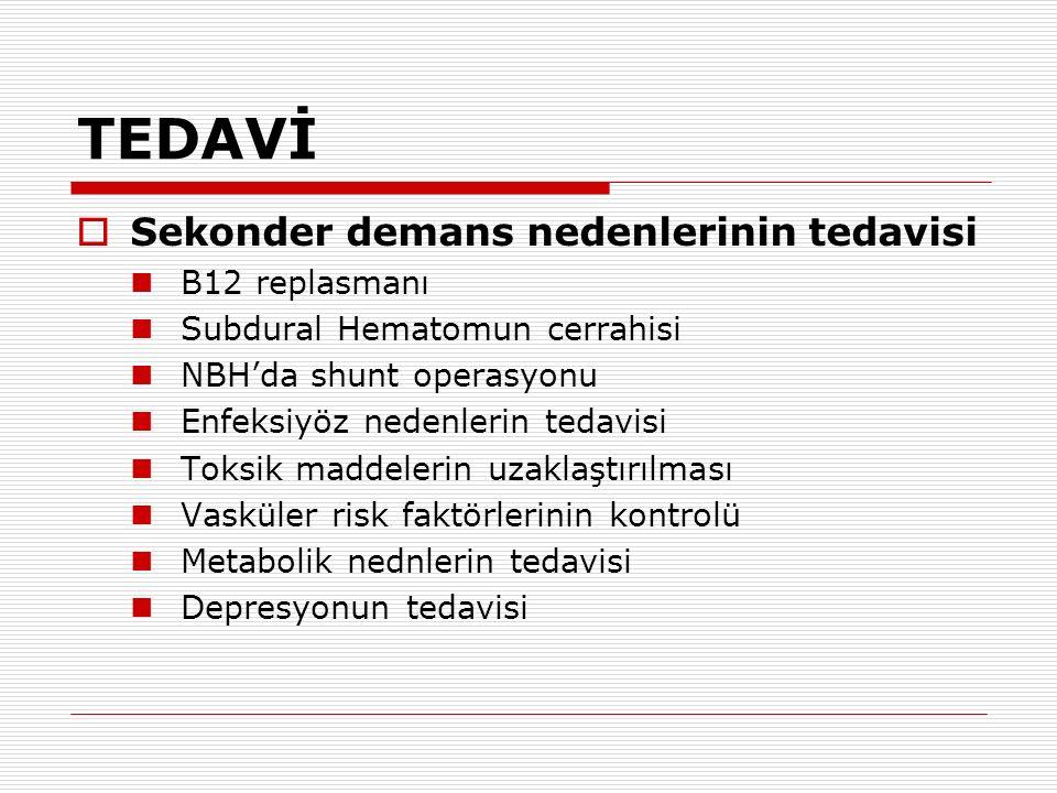 TEDAVİ Sekonder demans nedenlerinin tedavisi B12 replasmanı