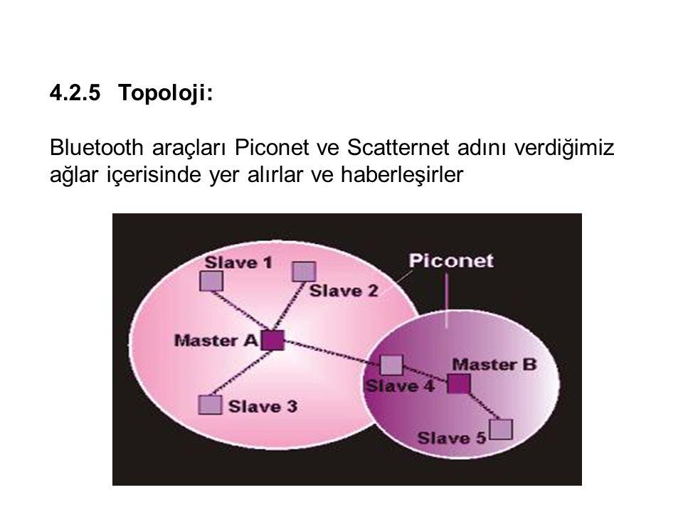 4.2.5 Topoloji: Bluetooth araçları Piconet ve Scatternet adını verdiğimiz ağlar içerisinde yer alırlar ve haberleşirler