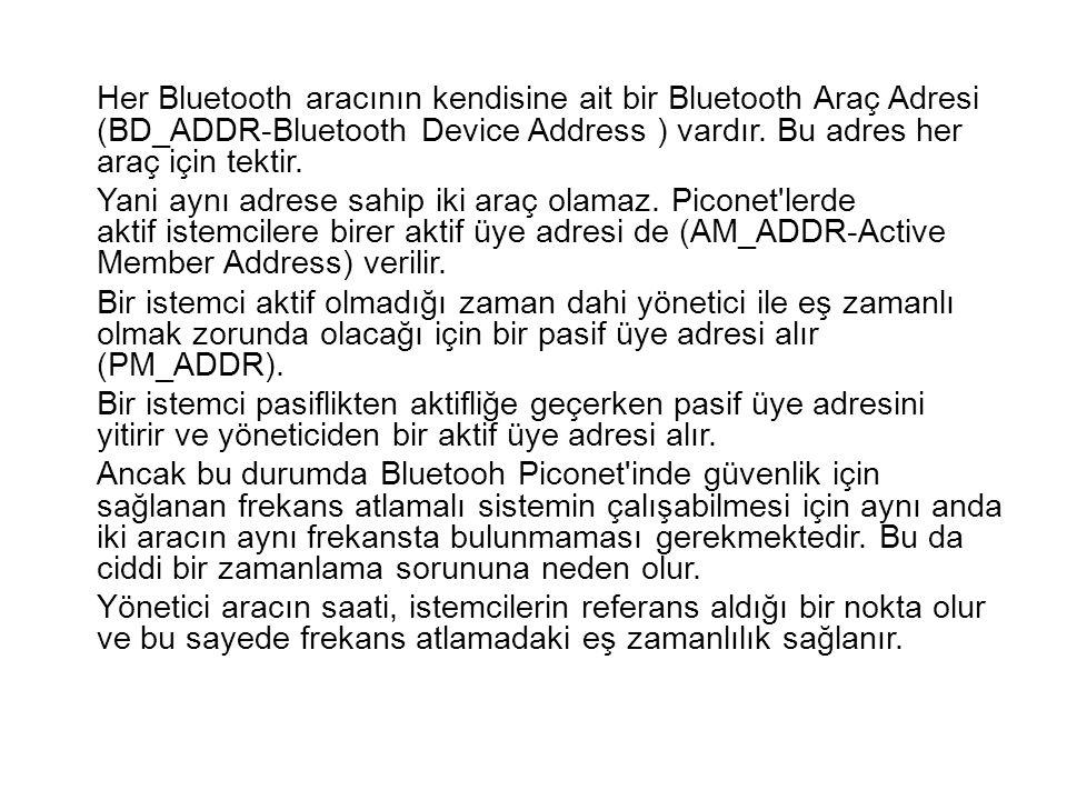 Her Bluetooth aracının kendisine ait bir Bluetooth Araç Adresi (BD_ADDR-Bluetooth Device Address ) vardır. Bu adres her araç için tektir.