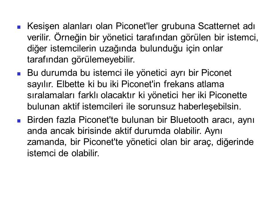 Kesişen alanları olan Piconet ler grubuna Scatternet adı verilir
