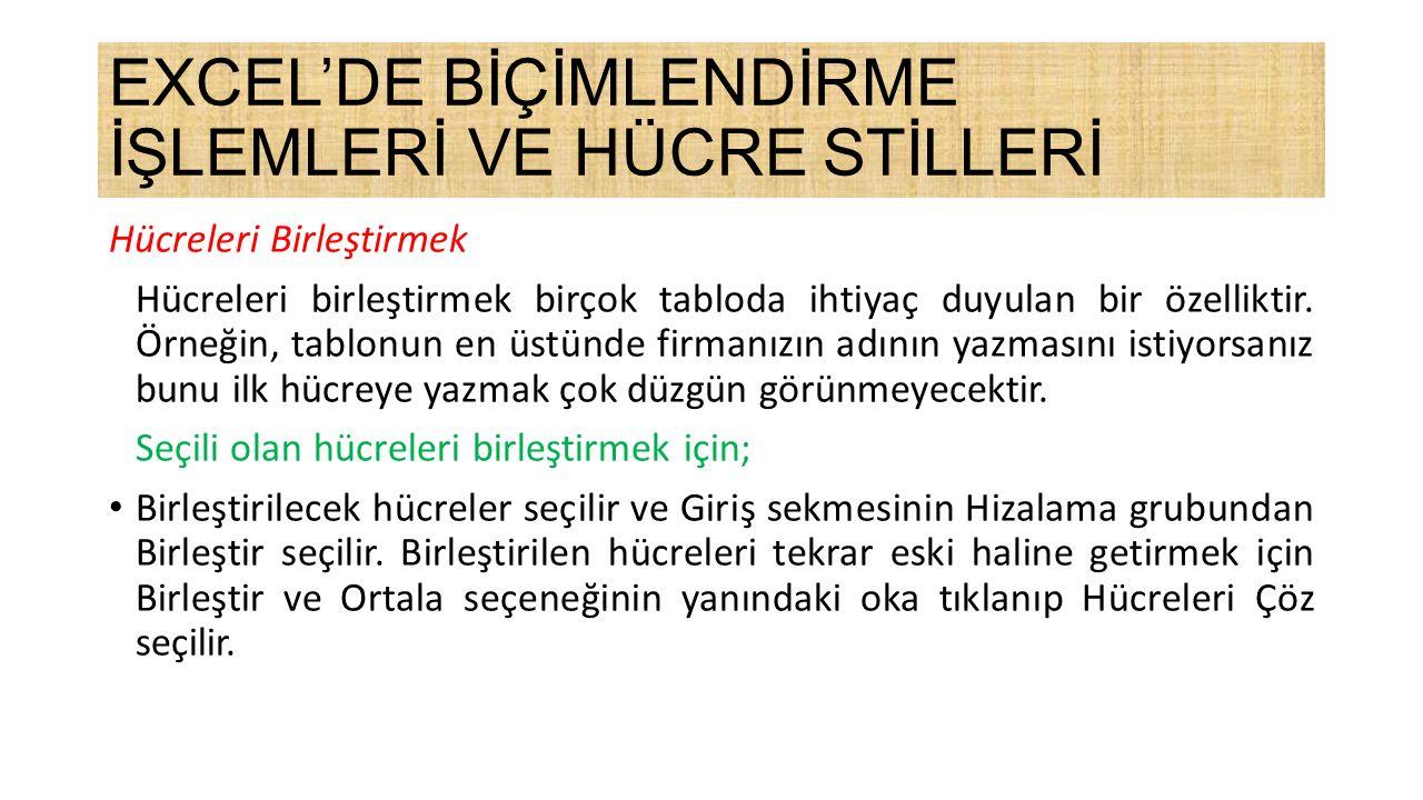 EXCEL'DE BİÇİMLENDİRME İŞLEMLERİ VE HÜCRE STİLLERİ